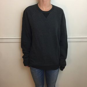 VINCE Gray Padded Elbow Soft Cotton Sweater Top